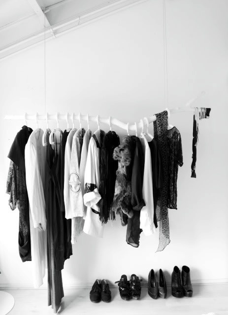 Clothes rack as decoration - via Coco Lapine