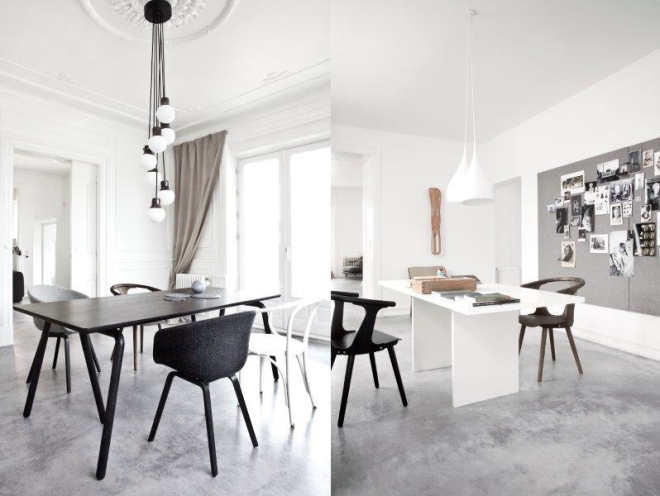 Concrete floors and white walls - via Coco Lapine