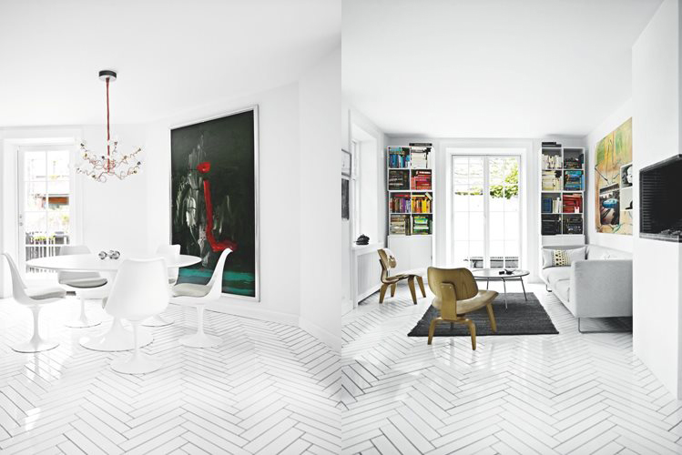 White floors and black furniture - via Coco Lapine