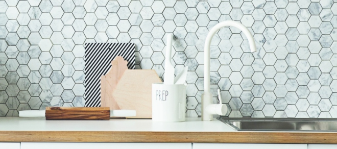Polygon kitchen tiles - via Coco Lapine