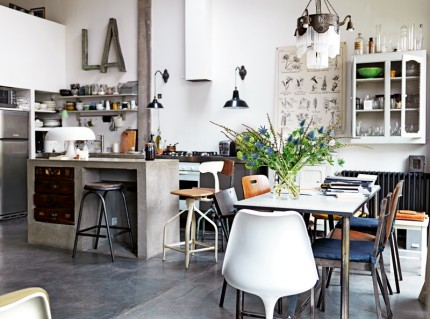 Industrial look and concrete floor - via Coco Lapine