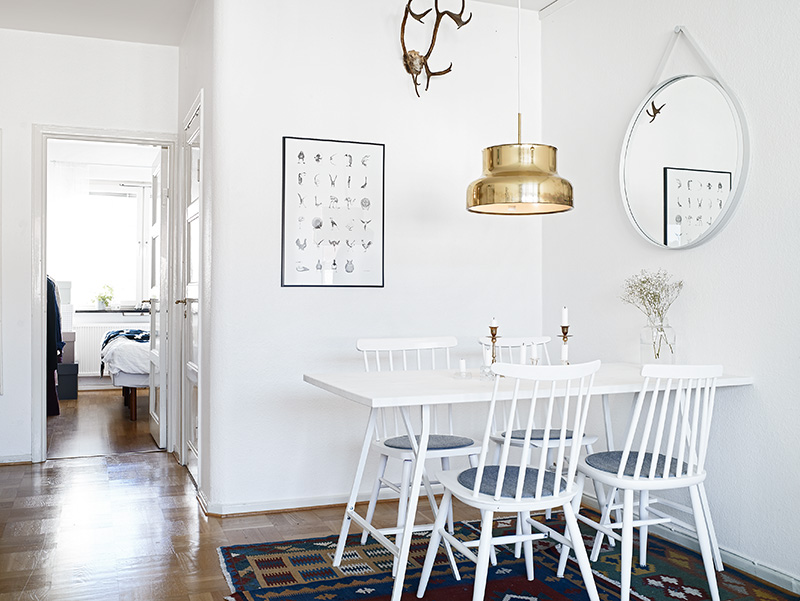 Bright and white dining room