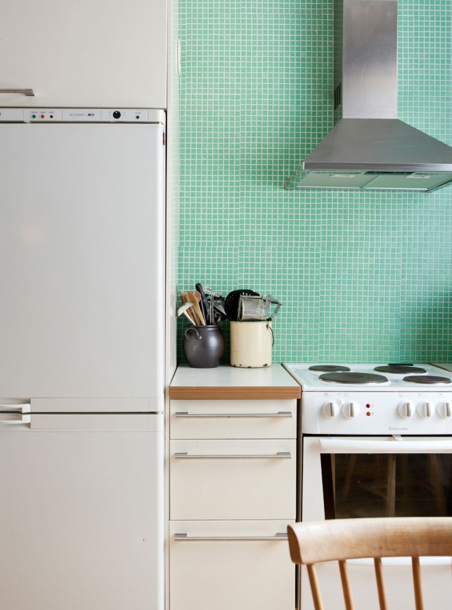 Mint green kitchen tiles