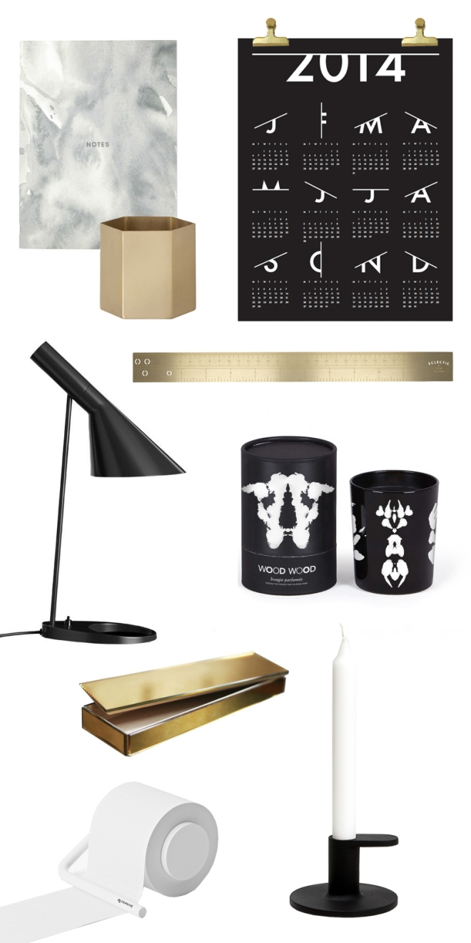 Black white and brass workspace wishlist